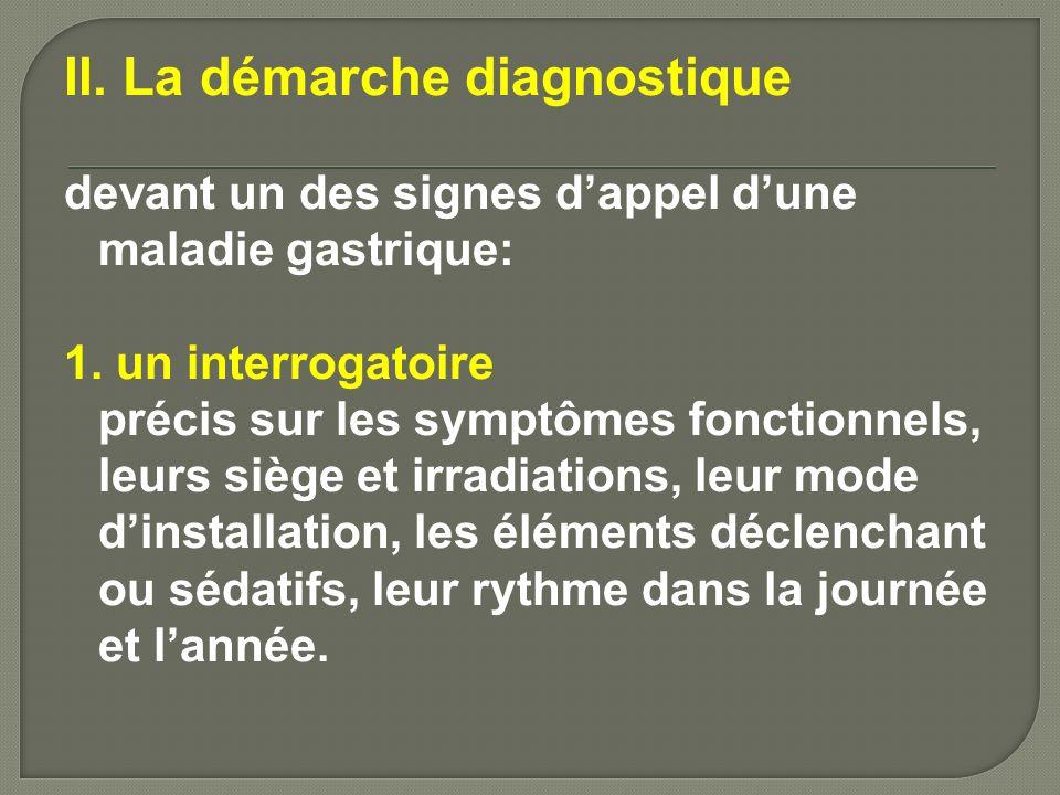 2. examen physique complet, 3. endoscopie œsogastroduodénale Cet examen est le premier prescrit.