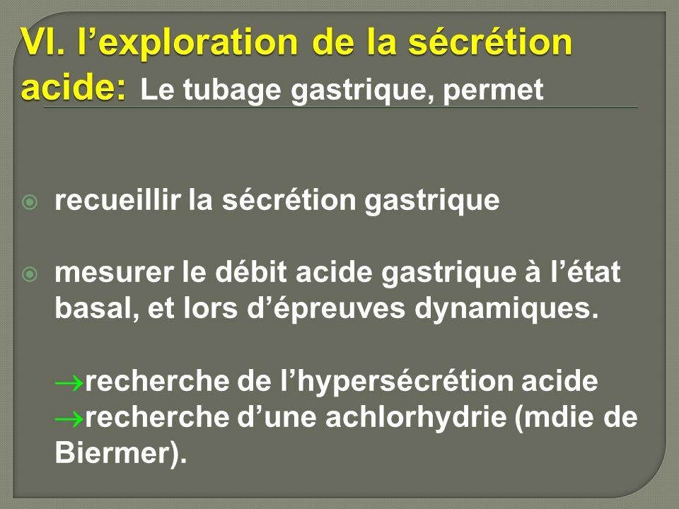 VI. lexploration de la sécrétion acide: VI. lexploration de la sécrétion acide: Le tubage gastrique, permet recueillir la sécrétion gastrique mesurer