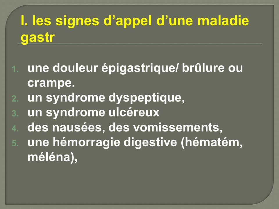 I. les signes dappel dune maladie gastr 1. une douleur épigastrique/ brûlure ou crampe. 2. un syndrome dyspeptique, 3. un syndrome ulcéreux 4. des nau