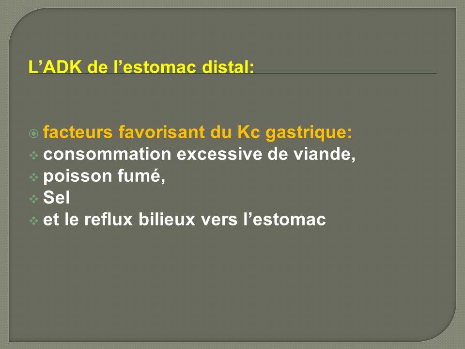 LADK de lestomac distal: facteurs favorisant du Kc gastrique: consommation excessive de viande, poisson fumé, Sel et le reflux bilieux vers lestomac