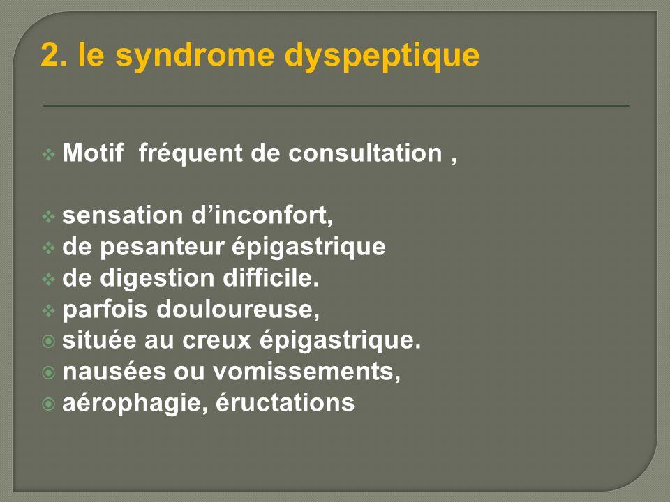 2. le syndrome dyspeptique Motif fréquent de consultation, sensation dinconfort, de pesanteur épigastrique de digestion difficile. parfois douloureuse