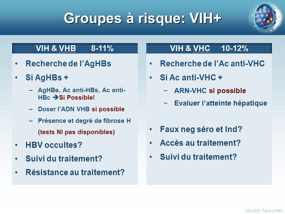 Groupes à risque: VIH+ UMI-233 TransVIHMI VIH & VHB 8-11% VIH & VHC 10-12%