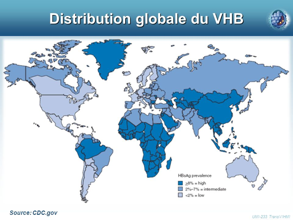 Distribution globale du VHB UMI-233 TransVIHMI