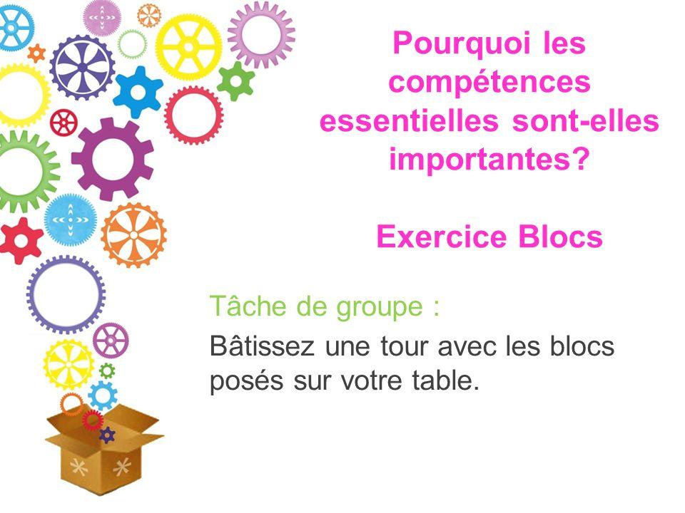 Pourquoi les compétences essentielles sont-elles importantes? Exercice Blocs Tâche de groupe : Bâtissez une tour avec les blocs posés sur votre table.