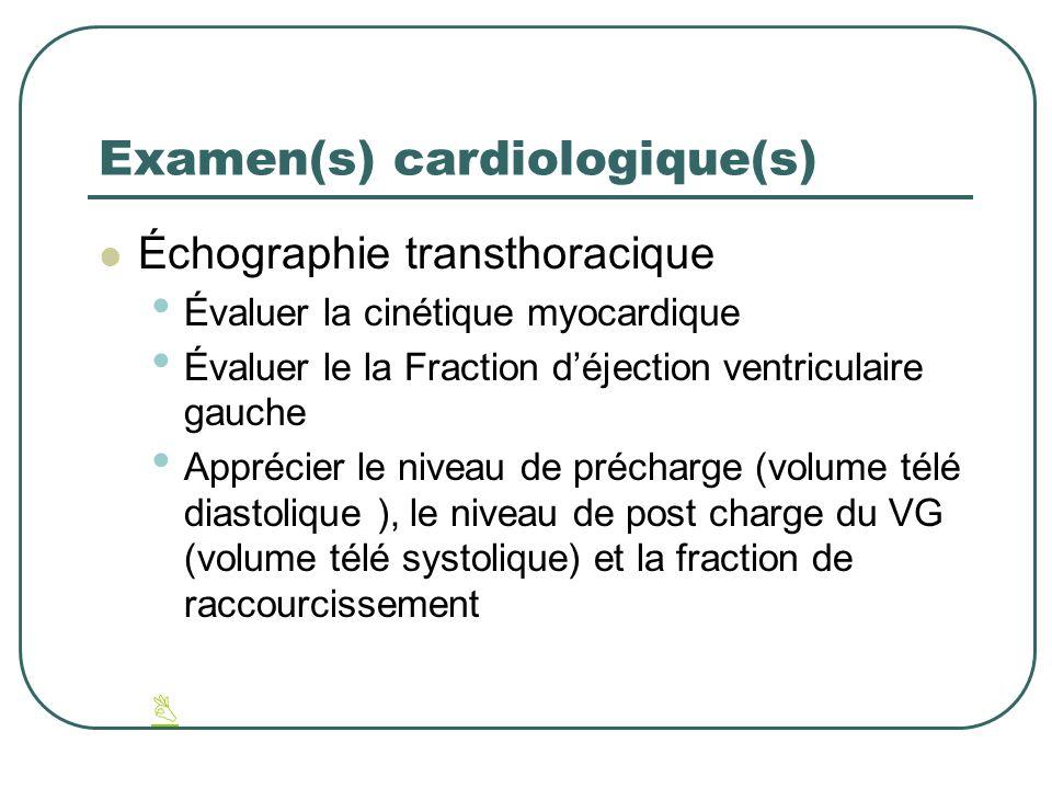 Examen(s) cardiologique(s) Échographie transthoracique Évaluer la cinétique myocardique Évaluer le la Fraction déjection ventriculaire gauche Apprécie