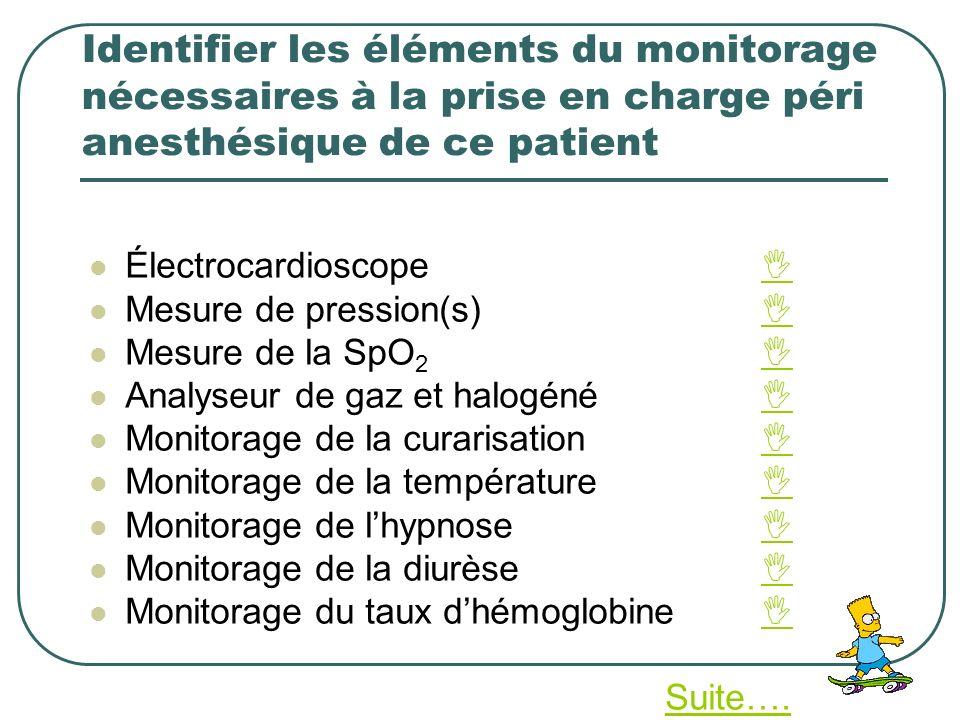 Identifier les éléments du monitorage nécessaires à la prise en charge péri anesthésique de ce patient Électrocardioscope Mesure de pression(s) Mesure
