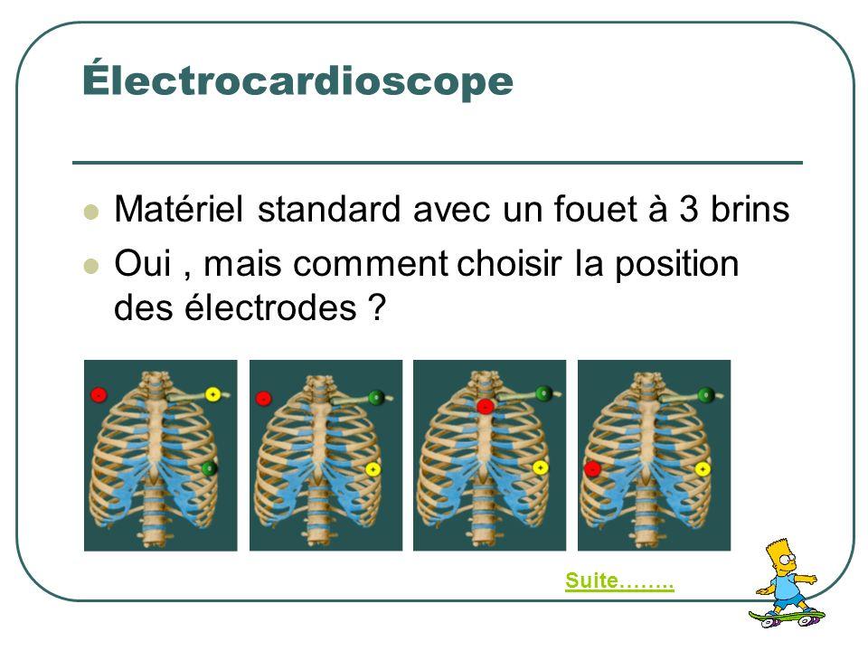Électrocardioscope Matériel standard avec un fouet à 3 brins Oui, mais comment choisir la position des électrodes ? Suite……..