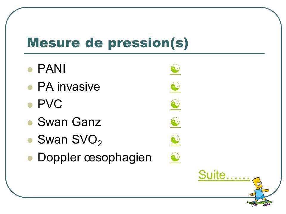 Mesure de pression(s) PANI PA invasive PVC Swan Ganz Swan SVO 2 Doppler œsophagien Suite……