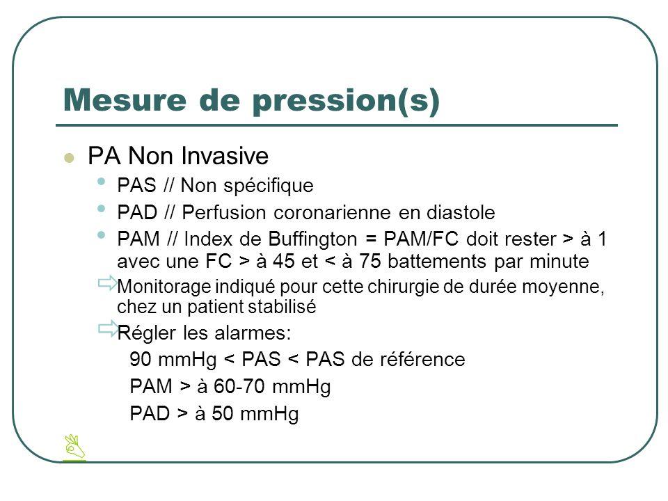Mesure de pression(s) PA Non Invasive PAS // Non spécifique PAD // Perfusion coronarienne en diastole PAM // Index de Buffington = PAM/FC doit rester