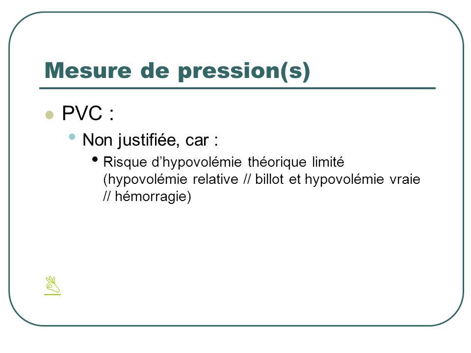 Mesure de pression(s) PVC : Non justifiée, car : Risque dhypovolémie théorique limité (hypovolémie relative // billot et hypovolémie vraie // hémorrag