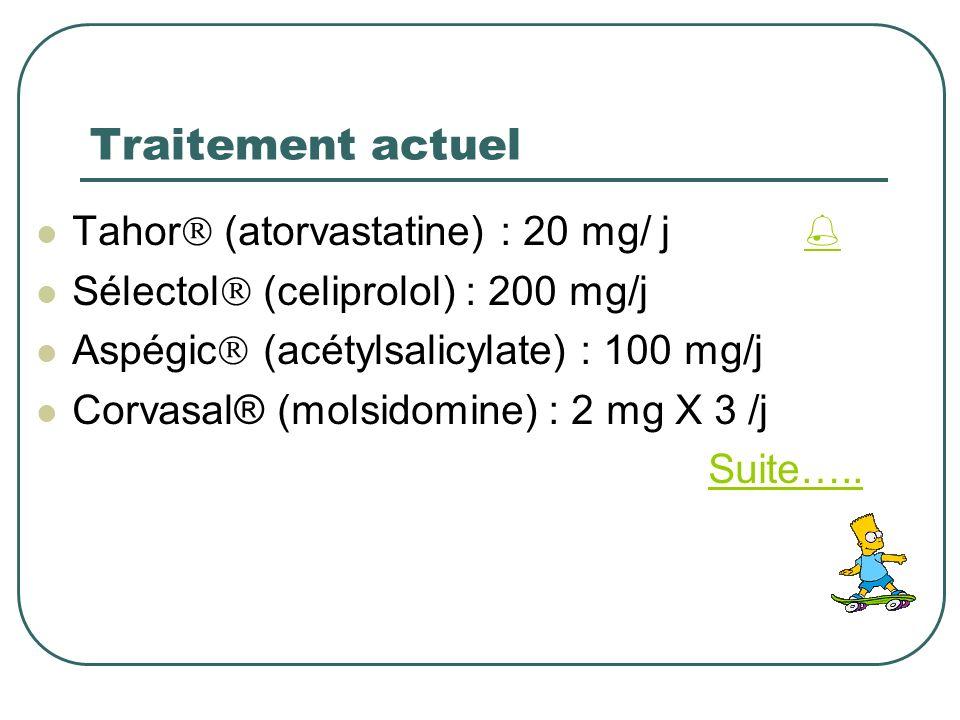 Traitement actuel Tahor (atorvastatine) : 20 mg/ j Sélectol (celiprolol) : 200 mg/j Aspégic (acétylsalicylate) : 100 mg/j Corvasal® (molsidomine) : 2