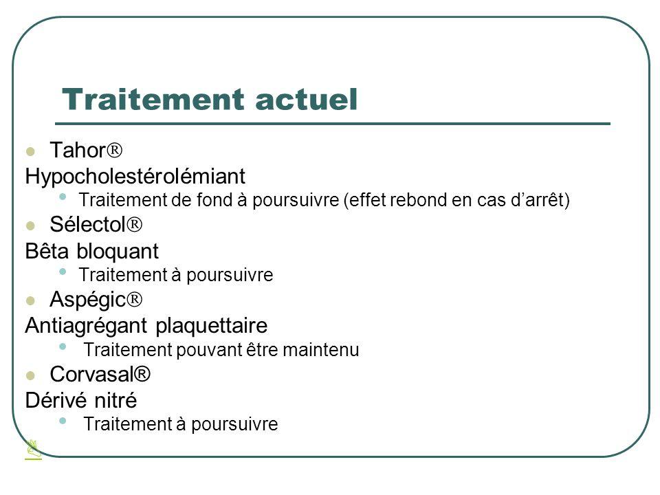 Traitement actuel Tahor Hypocholestérolémiant Traitement de fond à poursuivre (effet rebond en cas darrêt) Sélectol Bêta bloquant Traitement à poursui