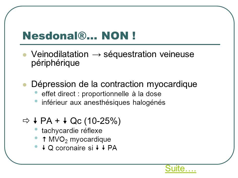 Nesdonal®… NON ! Veinodilatation séquestration veineuse périphérique Dépression de la contraction myocardique effet direct : proportionnelle à la dose