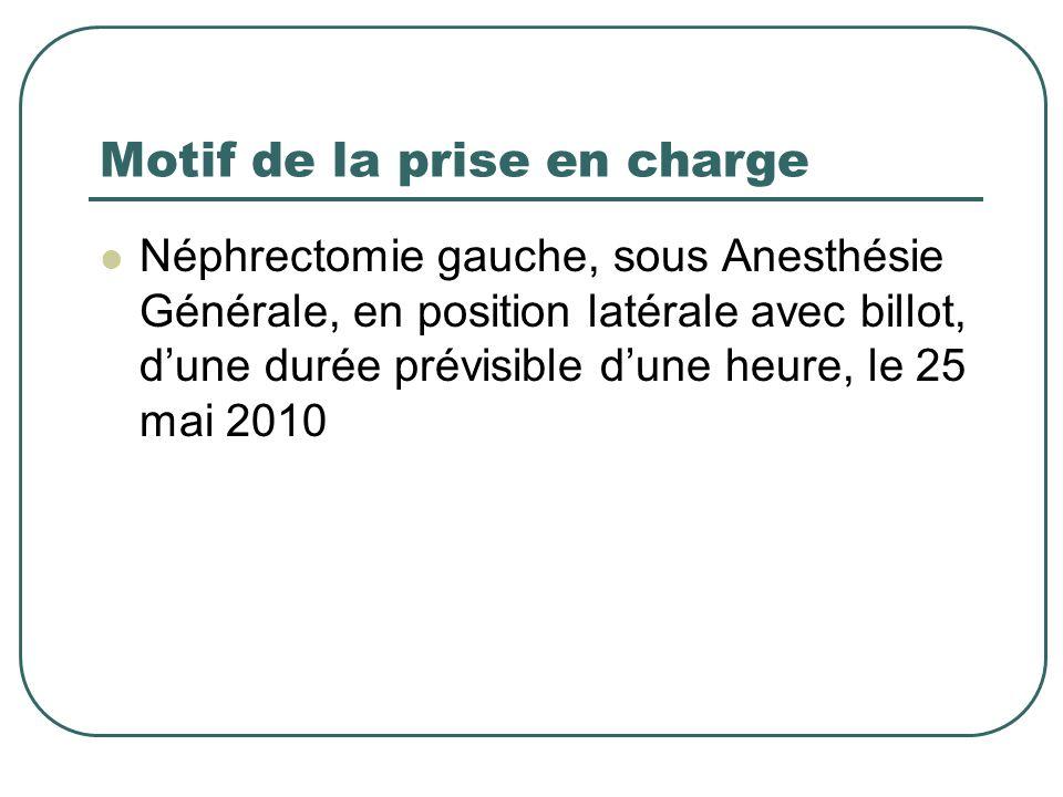 Motif de la prise en charge Néphrectomie gauche, sous Anesthésie Générale, en position latérale avec billot, dune durée prévisible dune heure, le 25 m