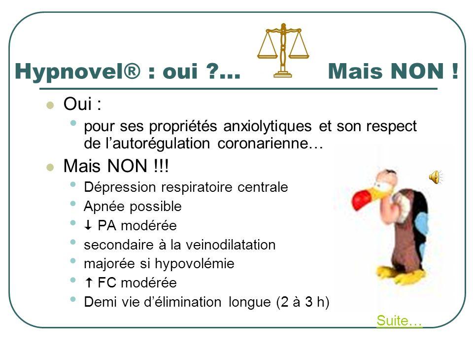 Hypnovel® : oui ?... Mais NON ! Oui : pour ses propriétés anxiolytiques et son respect de lautorégulation coronarienne… Mais NON !!! Dépression respir