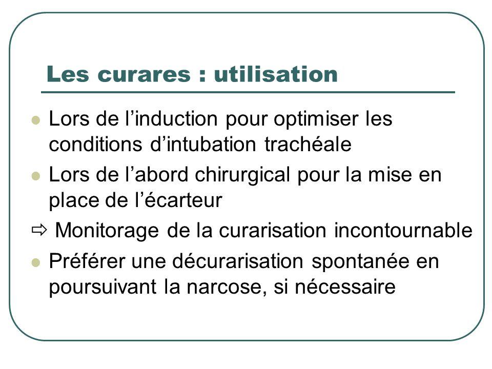 Les curares : utilisation Lors de linduction pour optimiser les conditions dintubation trachéale Lors de labord chirurgical pour la mise en place de l