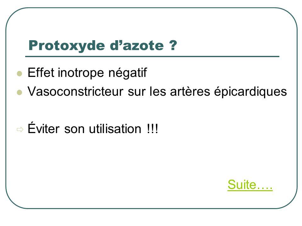 Protoxyde dazote ? Effet inotrope négatif Vasoconstricteur sur les artères épicardiques Éviter son utilisation !!! Suite….