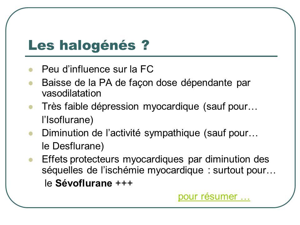 Les halogénés ? Peu dinfluence sur la FC Baisse de la PA de façon dose dépendante par vasodilatation Très faible dépression myocardique (sauf pour… lI