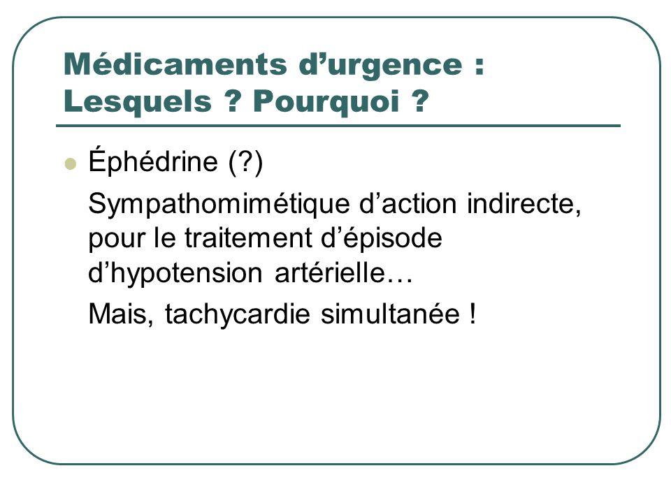 Médicaments durgence : Lesquels ? Pourquoi ? Éphédrine (?) Sympathomimétique daction indirecte, pour le traitement dépisode dhypotension artérielle… M