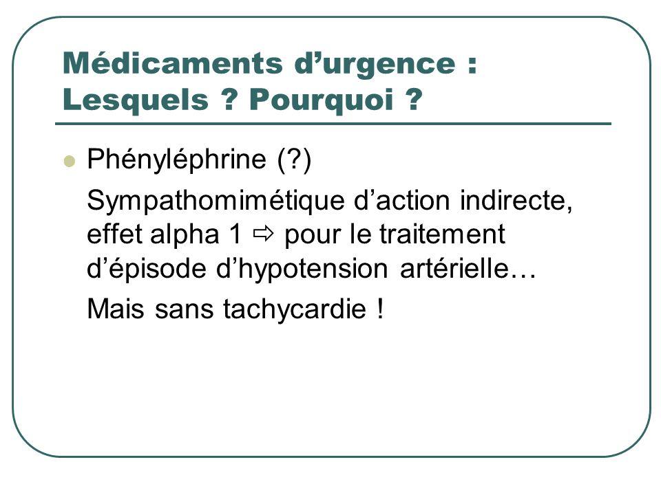 Médicaments durgence : Lesquels ? Pourquoi ? Phényléphrine (?) Sympathomimétique daction indirecte, effet alpha 1 pour le traitement dépisode dhypoten