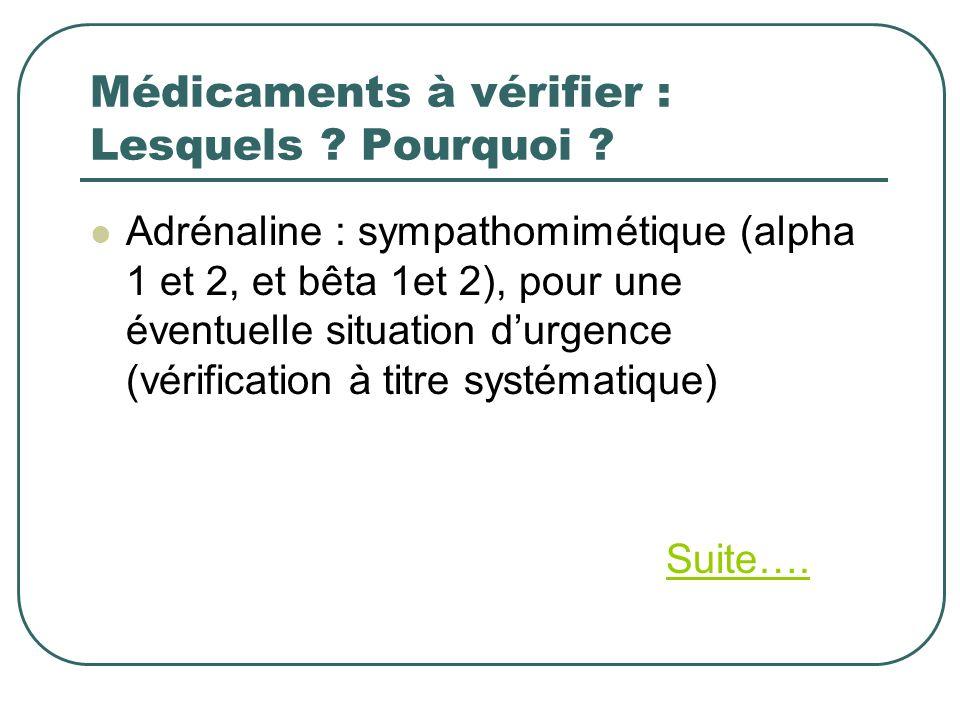 Médicaments à vérifier : Lesquels ? Pourquoi ? Adrénaline : sympathomimétique (alpha 1 et 2, et bêta 1et 2), pour une éventuelle situation durgence (v