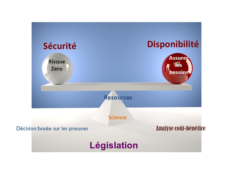 Disponibilité Sécurité Resources Risque Zero Décision basée sur les preuves Analyse coût-bénéfice Législation Assurer les besoins Science