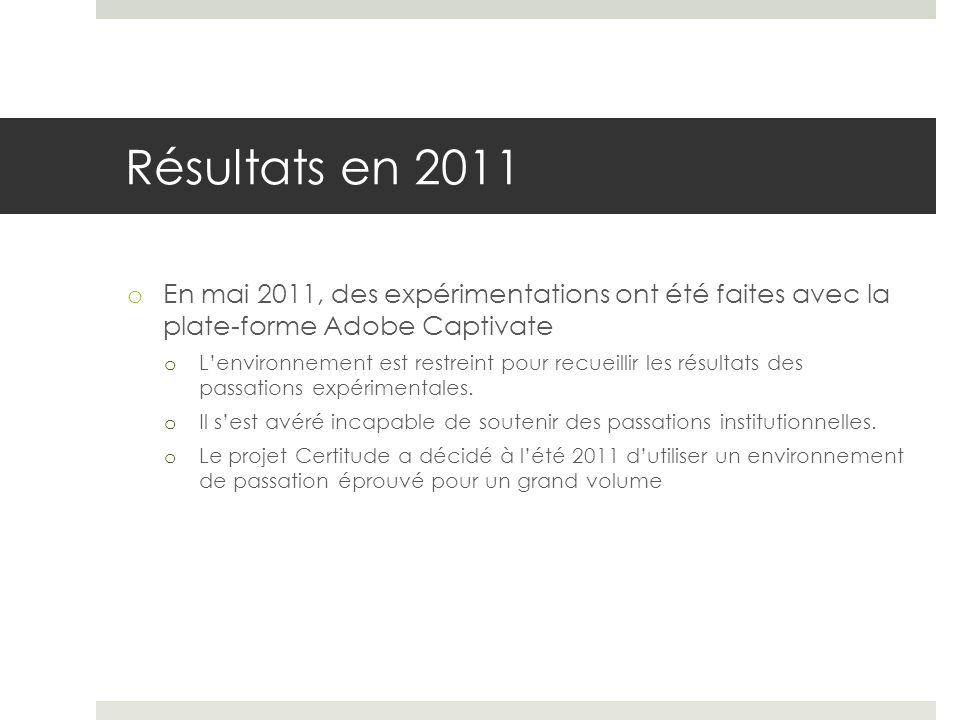 Résultats en 2011 o En mai 2011, des expérimentations ont été faites avec la plate-forme Adobe Captivate o Lenvironnement est restreint pour recueilli