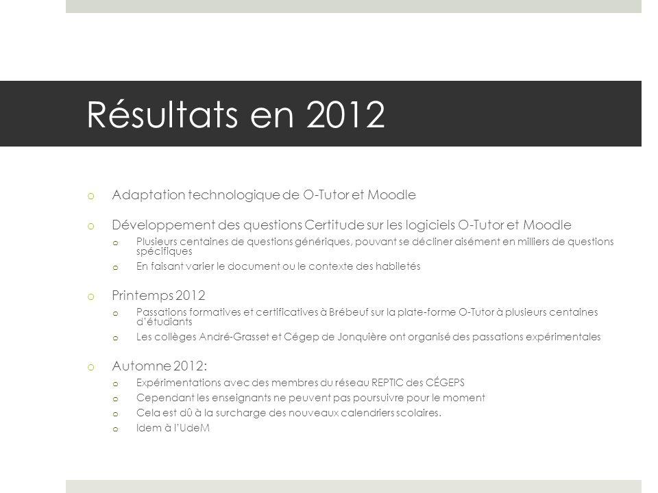 Résultats en 2012 o Adaptation technologique de O-Tutor et Moodle o Développement des questions Certitude sur les logiciels O-Tutor et Moodle o Plusie