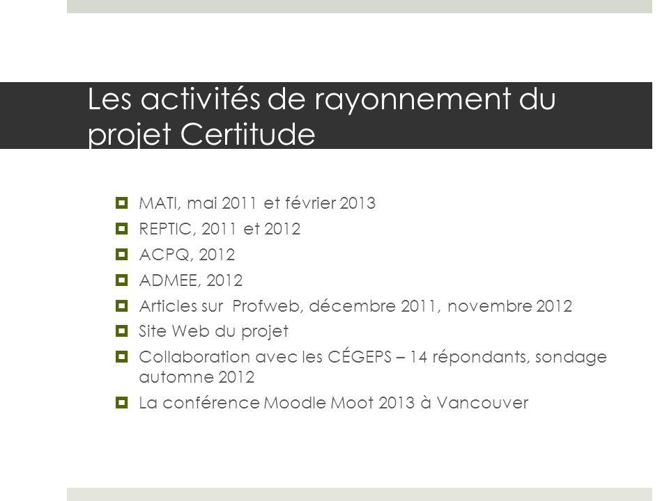 Les activités de rayonnement du projet Certitude MATI, mai 2011 et février 2013 REPTIC, 2011 et 2012 ACPQ, 2012 ADMEE, 2012 Articles sur Profweb, déce