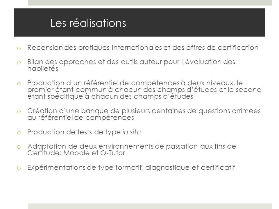 Les réalisations o Recension des pratiques internationales et des offres de certification o Bilan des approches et des outils auteur pour lévaluation
