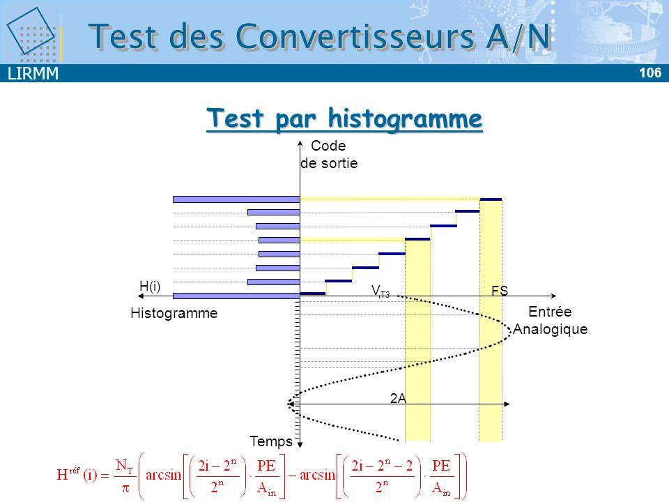 LIRMM 106 Test des Convertisseurs A/N Test par histogramme Temps Entrée Analogique Code de sortie Histogramme V T3 FS 2A H(i)