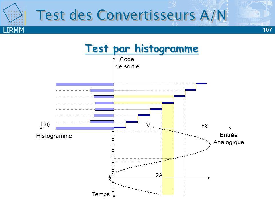 LIRMM 108 Test des Convertisseurs A/N Test par histogramme Temps Entrée Analogique Code de sortie Histograme V T3 FS 2A H(i)