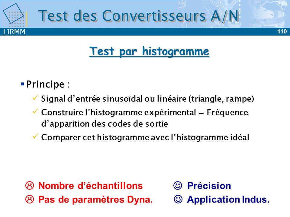 LIRMM 110 Test des Convertisseurs A/N Test par histogramme Précision Nombre déchantillons Pas de paramètres Dyna. Application Indus. Principe : Signal