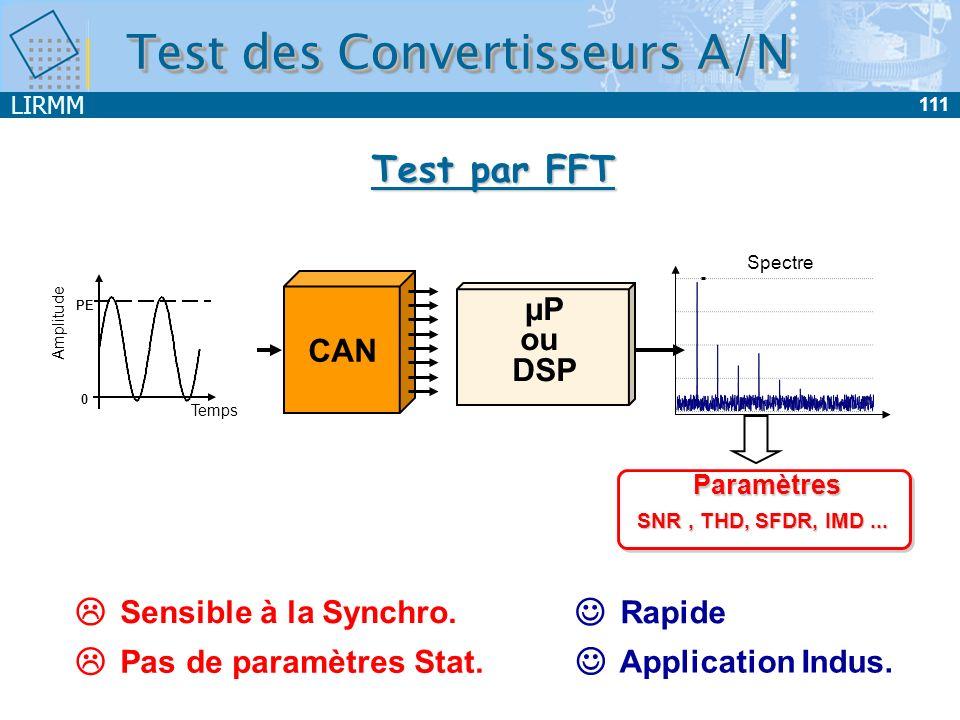 LIRMM 111 Test des Convertisseurs A/N Test par FFT Sensible à la Synchro. Pas de paramètres Stat. Rapide Application Indus. Temps PE Amplitude 0 CAN µ