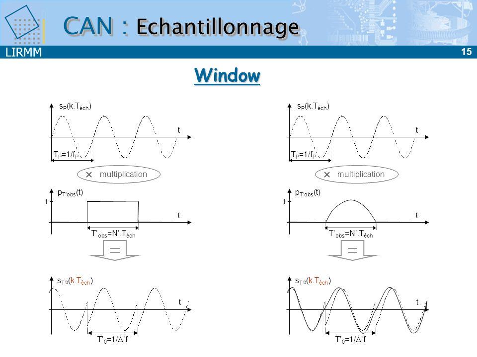 LIRMM 15 t s P (k.T éch ) T P =1/f P T 0 =1/ f t s T 0 (k.T éch ) multiplication t p Tobs (t) 1 T obs =N.T éch t s P (k.T éch ) T P =1/f P T 0 =1/ f t