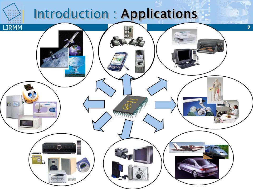 LIRMM 3 Plan du cours Introduction CAN Echantillonnage Quantification Codage Architectures CNA Architectures Exemple de CNA 8 bits à sources unitaires Caractéristiques des convertisseurs Test des convertisseurs