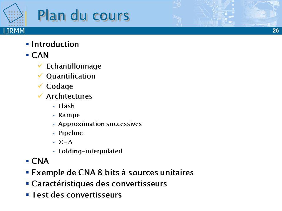 LIRMM 26 Plan du cours Introduction CAN Echantillonnage Quantification Codage Architectures Flash Rampe Approximation successives Pipeline - Folding-i