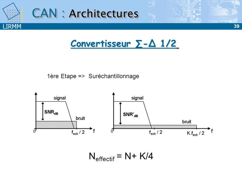 LIRMM 40 CAN : Architectures Entrée Intégrateur Comparateur CNA Modulateur 1 bit Fe analogique Convertisseur - 2/2 Dsp Bande utile Dsp Bande utile - FeFe Dsp Bande utile n bits à Fe/n Filtre décimateur Dsp Bande utile