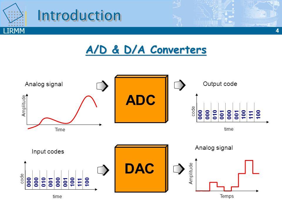 LIRMM 4 IntroductionIntroduction Output code 000 010 001 000 001 100 111 100 time code Analog signal Time Amplitude ADC Analog signal Temps DAC Input
