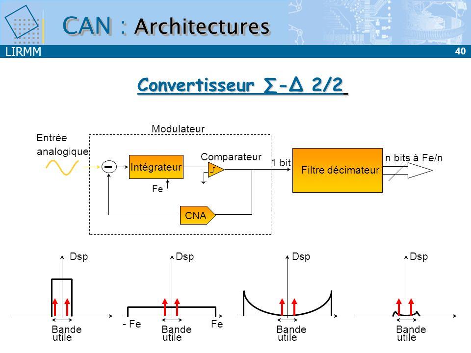 LIRMM 41 CAN : Architectures ArchitecturePoints fortsPoints faibles Intégration + résolution + Faible consommation + Excellente réjection analogique du bruit - vitesse de conversion (2 n.