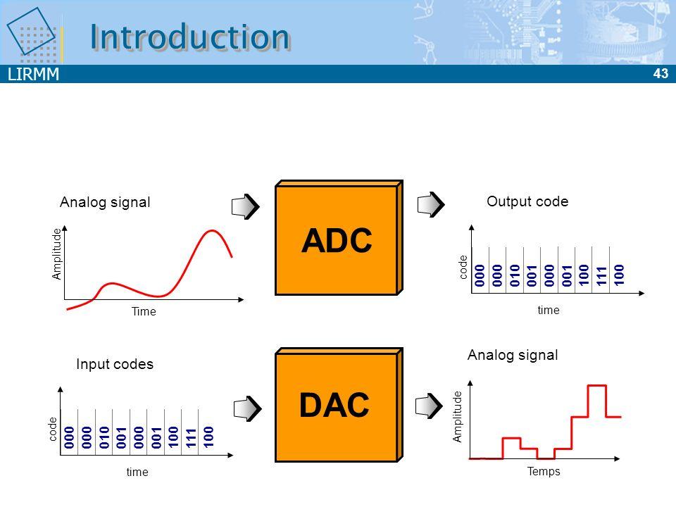 LIRMM 43 IntroductionIntroduction Output code 000 010 001 000 001 100 111 100 time code Analog signal Time Amplitude ADC Analog signal Temps DAC Input