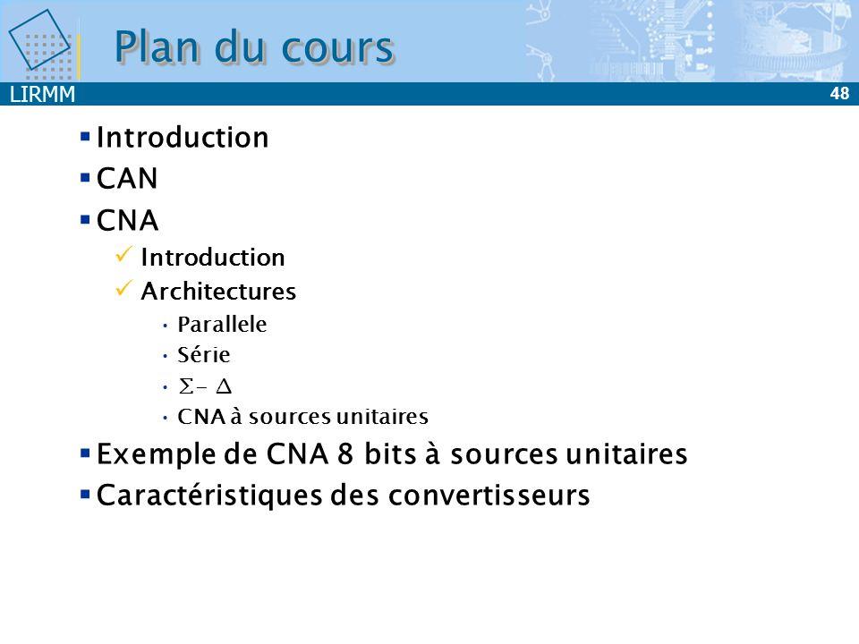 LIRMM 48 Plan du cours Introduction CAN CNA Introduction Architectures Parallele Série - CNA à sources unitaires Exemple de CNA 8 bits à sources unita