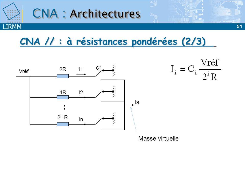 LIRMM 51 CNA : Architectures CNA // : à résistances pondérées (2/3) 2R 4R 2 n R Vréf I1 I2 In c1 Is Masse virtuelle