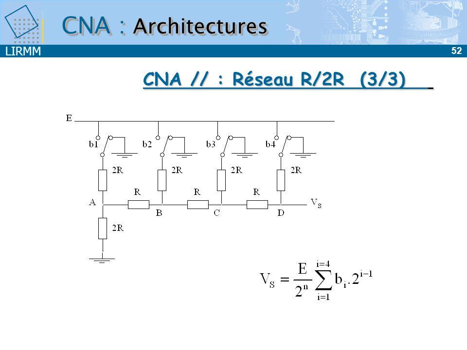 LIRMM 52 CNA : Architectures CNA // : Réseau R/2R (3/3)