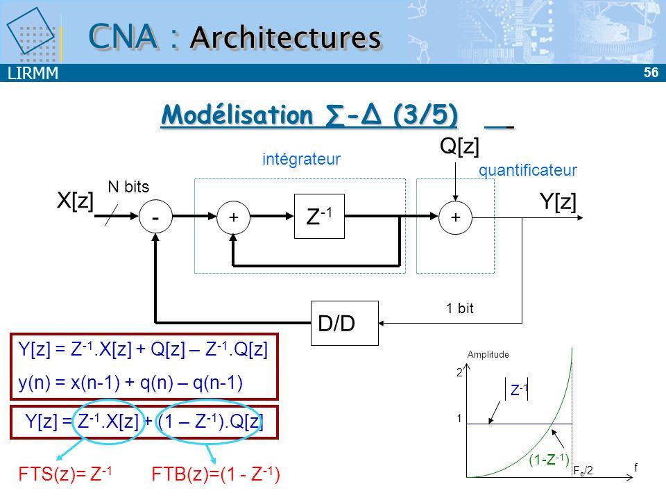 LIRMM 57 Y[z] = Z -1.X[z] + Q[z] – 2Z -1.Q[z] + Z -2.Q[z] = Z -1.X[z] + (1 – Z -1 ) 2.Q[z] y(n) = x(n-1) + q(n) – 2q(n-1) + q(n-2) Q[z] - + Z -1 intégrateur - + Z -1 Y[z] + X[z] D/D 1 bit / / // N bits intégrateur CNA : Architectures Modélisation - dordre 2 (4/5)