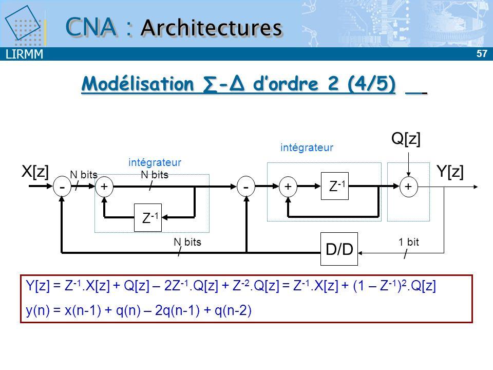 LIRMM 58 Y[z] = Z -1.X[z] + (1 – Z -1 ) 2.Q[z] FTS(z)= Z -1 FTB(z)=(1 - Z -1 ) Z -1 (1-Z -1 ) 2 1 2 f Amplitude F e /2 Modulateur d ordre 2Modulateur d ordre n Y[z] = Z -1.X[z] + (1 – Z -1 ) n.Q[z] FTB(z)=(1 - Z -1 ) n FTS(z)= Z -1 CNA : Architectures Modélisation - dordre n (5/5)