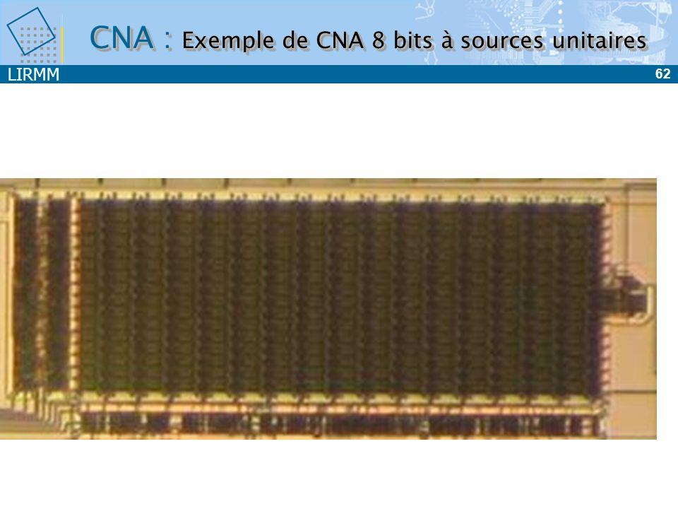 LIRMM 62 CNA : Exemple de CNA 8 bits à sources unitaires
