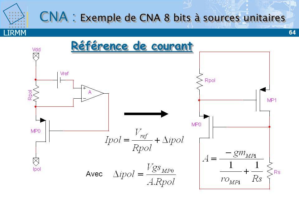 LIRMM 65 le montage cascode : Problème : stabilité -> Besoin dun Start Up Référence de courant Étage de polarisation CNA : Exemple de CNA 8 bits à sources unitaires