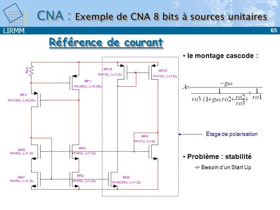LIRMM 65 le montage cascode : Problème : stabilité -> Besoin dun Start Up Référence de courant Étage de polarisation CNA : Exemple de CNA 8 bits à sou