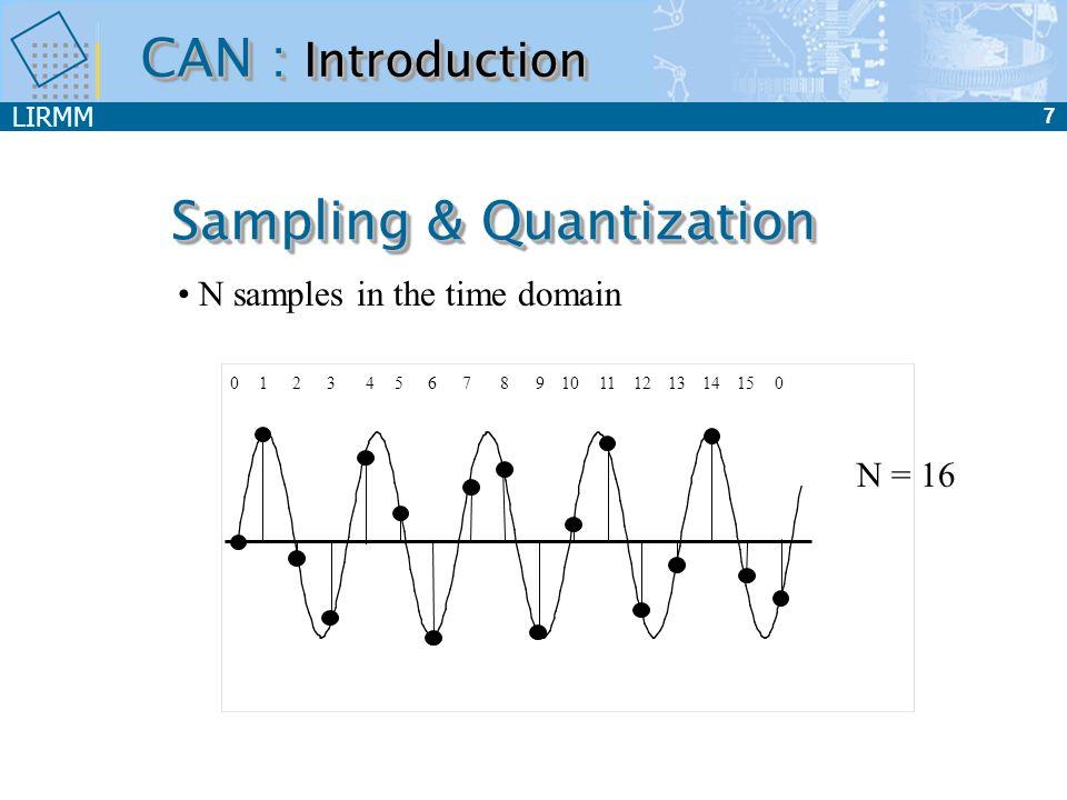 LIRMM 7 Sampling & Quantization 01234567891011121314150 N samples in the time domain N = 16 CAN : Introduction